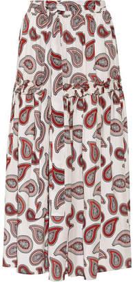 Dodo Bar Or - Paisley-print Silk Crepe De Chine Maxi Skirt - Red