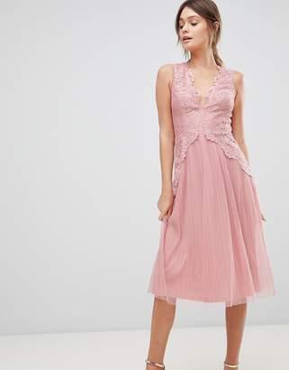 Asos Lace Top Mesh Pleated Midi Dress
