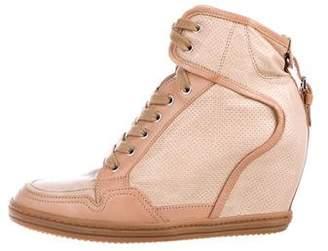 Hogan Leather Wedge Sneakers