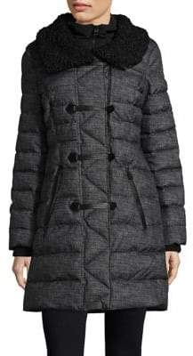 GUESS Faux Fur Trimmed Toggle Coat
