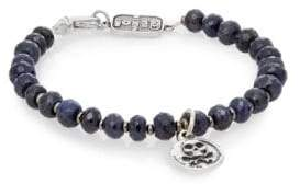 King Baby Studio Sapphire & Sterling Silver Beaded Skull & Crossbones Bracelet