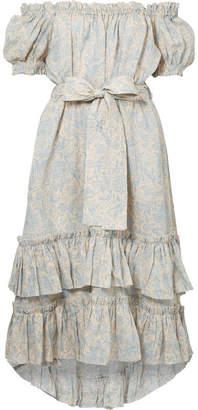 Zimmermann Helm Off-the-shoulder Tiered Printed Linen Dress