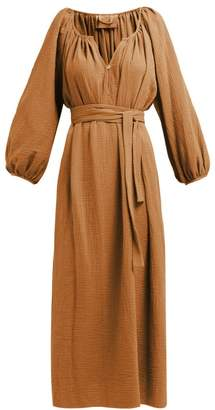 Loup Charmant Organic Cotton Gauze Midi Dress - Womens - Brown