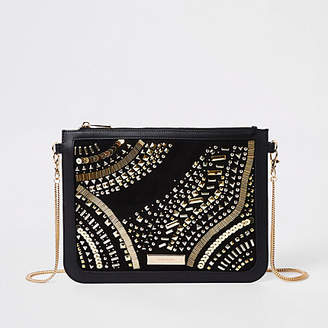 River Island Black stud embellished chain strap clutch bag