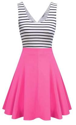 Lintimes Women's Striped Scoop Neck Tunic Swing Dress Mini Cocktail Tank Dress Color:Rose red Size:XL