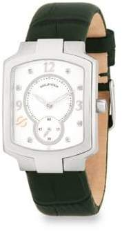 Philip Stein Teslar Classic Diamond and Leather Strap Watch