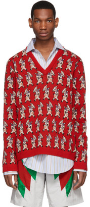 Gucci Red Wool Pig V-Neck Sweater