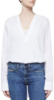 Helmut Lang V-Neck Long-Sleeve Tunic Blouse, White