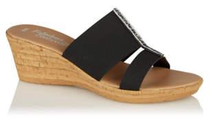 Bell George Black Embellished Wedge Heel Sandals