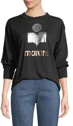 Etoile Isabel Marant Klowia Metallic Logo Long-Sleeve Tee