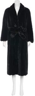Fur Mink Belted Coat