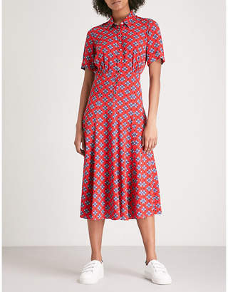 Sandro Floral-pattern woven midi dress