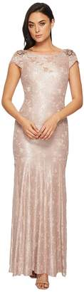 Adrianna Papell Long Metallic Lace Cap Sleeve Gown Women's Dress