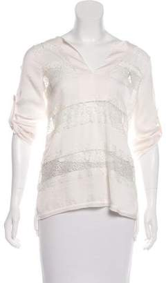 BCBGMAXAZRIA Lace-Accented Long Sleeve Top