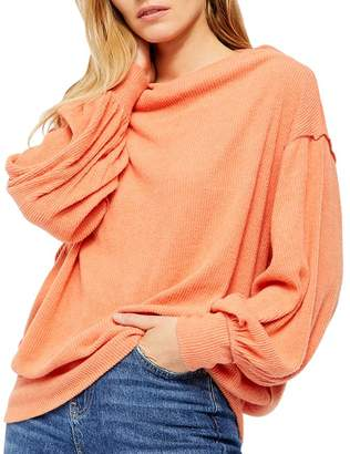 Free People Main Squeeze Hacci Balloon-Sleeve Top