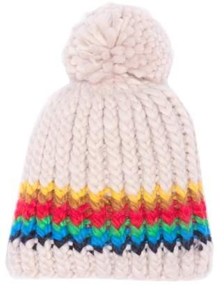 David & Young Pompom Stripe Knit Beanie