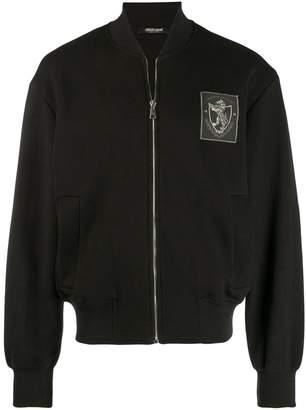Roberto Cavalli logo patch bomber jacket