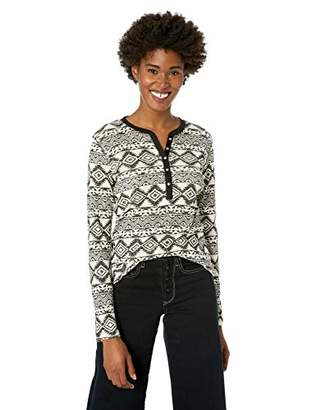 Chaps Women's Fashion Crewneck Henley Long Sleeve Shirt