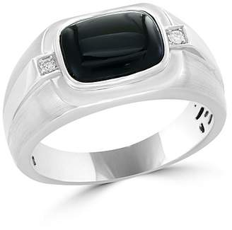 Bloomingdale's Diamond and Black Agate Men's Band in 14K White Gold, .04 ct. t.w. - 100% Exclusive