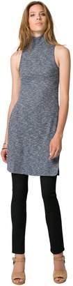 Le Château Women's Knit Mock Neck Slit Tunic Top,XL