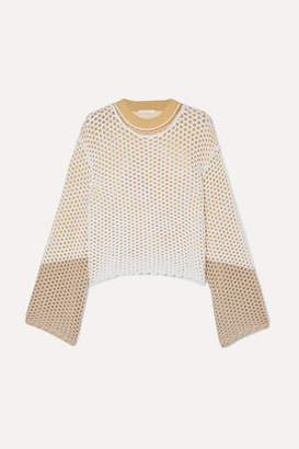 Chloé Layered Crochet And Open-knit Sweater - Sand