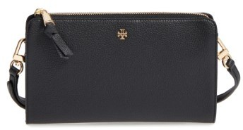 Tory Burch Women's Tory Burch Robinson Leather Wallet On A Chain - Black