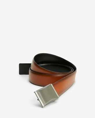 Express Reversible Cognac Beveled Brushed Silver Comfort Stretch Belt