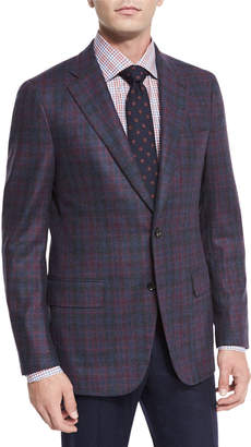 Isaia Large Plaid Wool Two-Button Jacket, Burgundy/blue