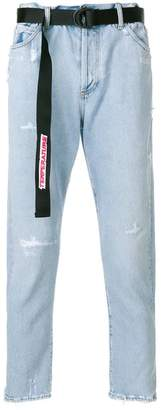 Off-White distressed tapered jeans