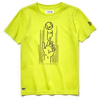 Lacoste Boys' SPORT Print Technical Jersey T-shirt - x Novak Djokovic Support With Style - Off Court Collection