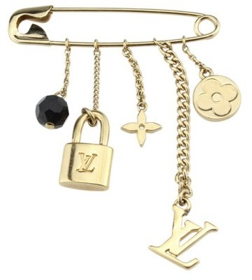 Louis Vuitton Louis Vuitton Yellow Gold Plated Charm Safety Pin Brooch