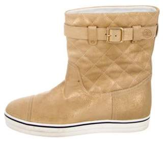 Chanel Metallic Quilted Boots Gold Metallic Quilted Boots