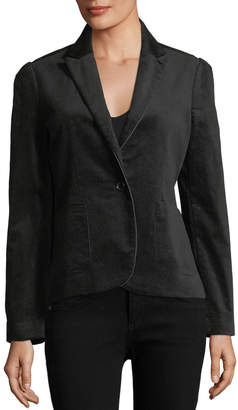 Brandon Thomas Velvet Faux-Leather-Trim Blazer
