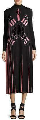 Valentino Love Blade Pleated Long-Sleeve Dress, Black/Multi