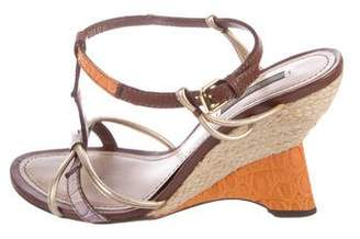 Louis Vuitton Leather T-Strap Wedges