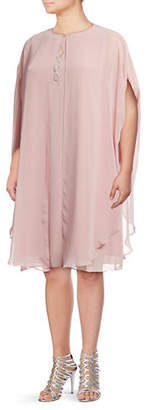 IGNITE EVENING Two-Piece Bead Embellished Dress and Cape