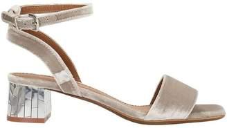 Lola Cruz Taupe Color Velvet Sandals
