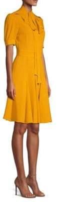 Michael Kors Silk Tie-Neck A-Line Dress