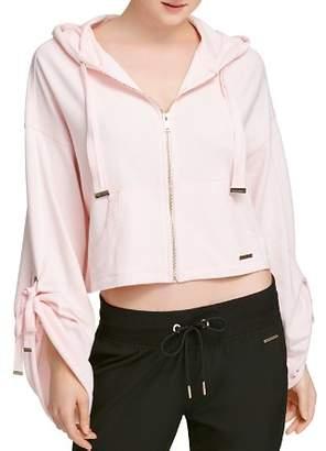 Donna Karan Cinched-Sleeve Zip Hoodie