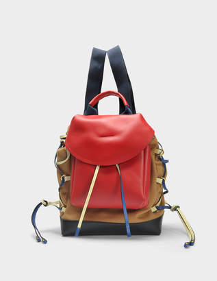 Marni Mountain Backpack in Hazelnut, Cherry and Black Canvas and Calfskin