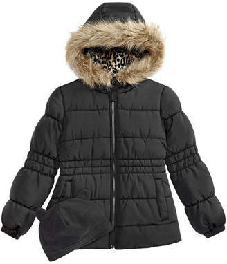 Weathertamer Weather tamer Big Girls Puffer Coat with Faux Fur Trimmed Hood