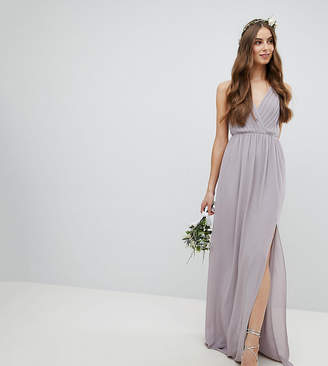 TFNC Tall Pleated Maxi Bridesmaid Dress With Back Detail