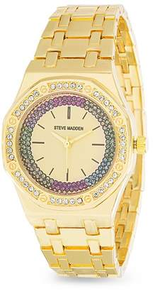 Steve Madden Women's Multicolor Jewel Geometric Bezel Watch, 33mm