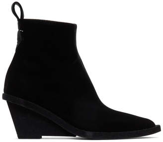 MM6 MAISON MARGIELA Black Suede Wedge Boots