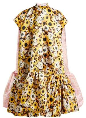Richard Quinn - Floral Print A Line Duchess Satin Dress - Womens - Yellow Print