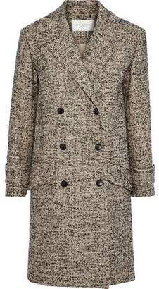 Halston Double-breasted Tweed Coat