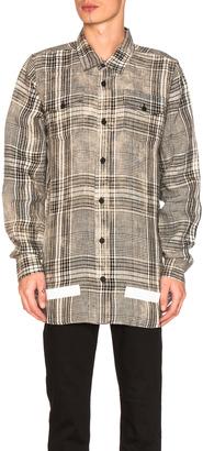 OFF-WHITE Linen Check Shirt $580 thestylecure.com