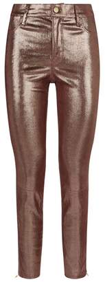 J Brand 620 Metallic Leather Super-Skinny Jeans