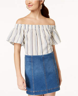 7 Sisters Juniors' Striped Off-The-Shoulder Top