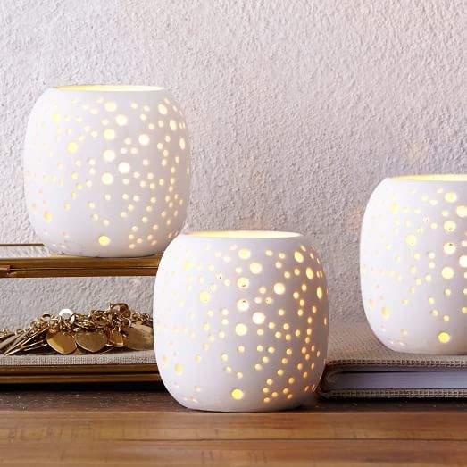 Pierced Porcelain Tealights - Constellation